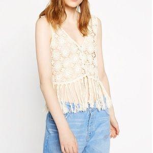 ZARA ll Trafaluc Cream Fringe Crochet Vest Top